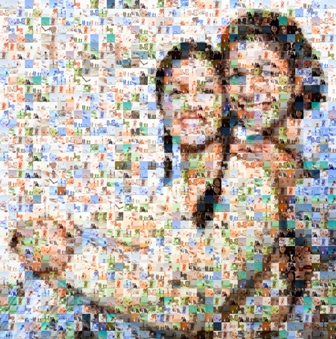 Mother and daughter made out of family imagery