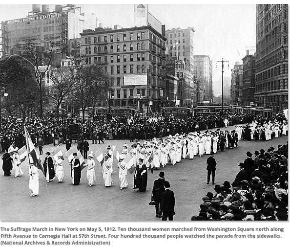 The suffrage March in New York