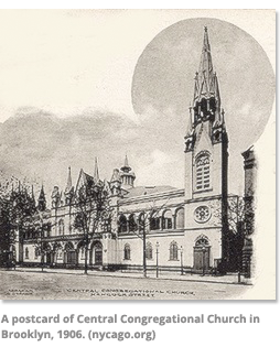 A postcard of Central Congregational Church n Brooklyn 1906