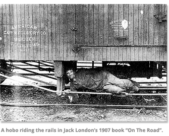 A hobo riding the rails in Jack London's 1907