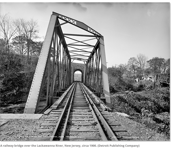 A railway bridge over teh Lackawanna River - 1900