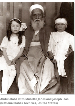 Abdu'l-Baha with Musette Jones and Joseph Ioas