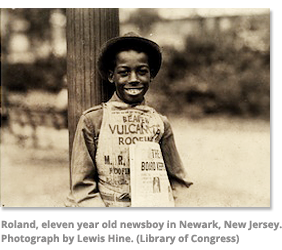 Roland, eleven year old newsboy in Newark