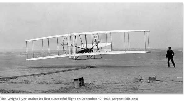"The ""Wright Flyer"" makes its first successful on December 17, 1903"