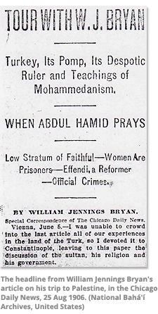 Headline from William Jennings Bryan's article on his trip to Palestine