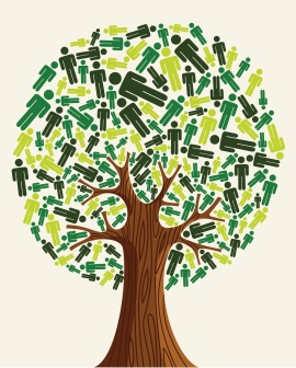 Diversity tree green people illustration