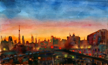 Painting of a city sunset