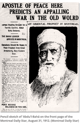 Pencil sketch of Abdu'l-Baha on the front page of the Montreal Daily  Star