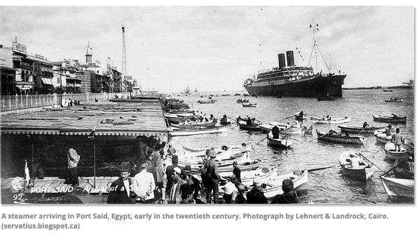 A steamer arriving in Port Said