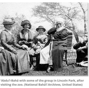 Abdu'l-Baha with some of the group in Lincoln Park
