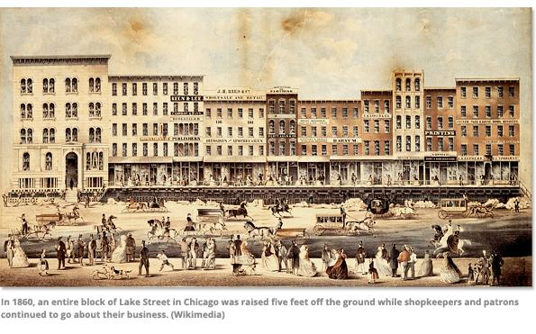 Lake Street in Chicago 1860s