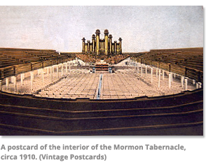 Postcard of the interior of the Mormon Tabernacle 1910