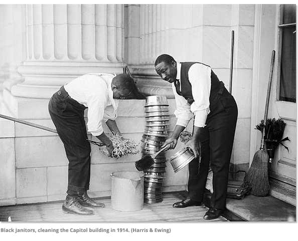 Black Janitors cleaning the capitol in 1914