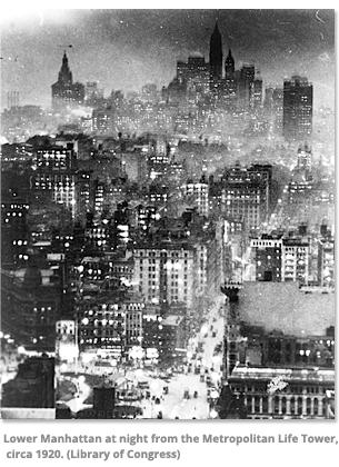 Lower Manhattan at night 1920