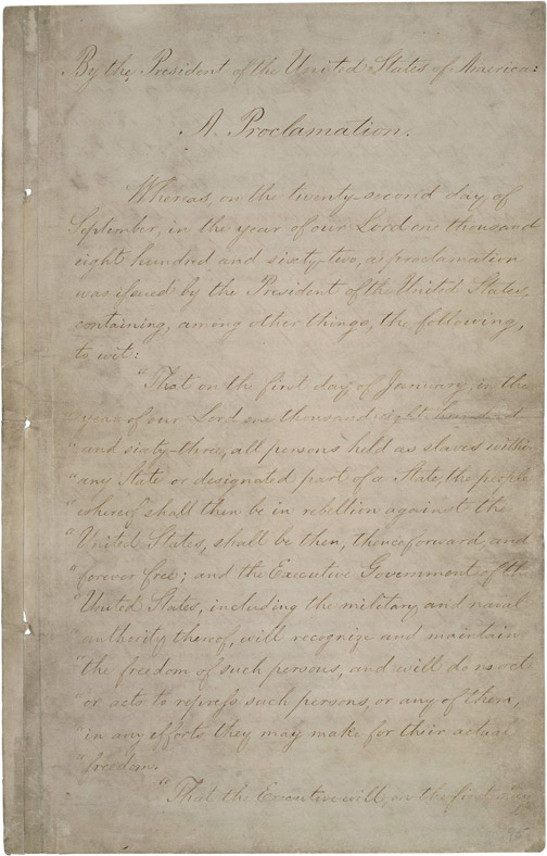 First page of Emancipation Proclamation