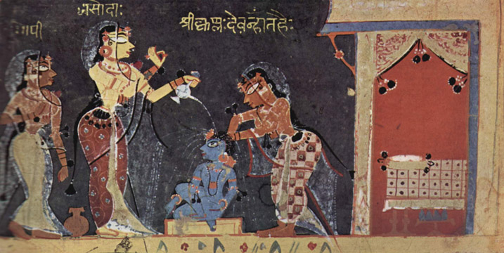 Yashoda bathing the child Krishna