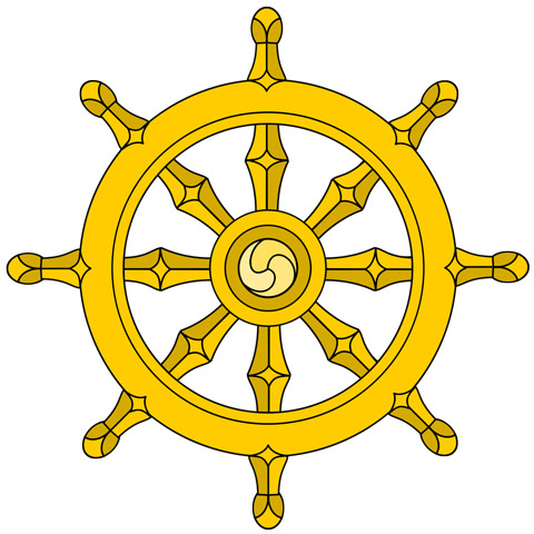 Symbol of Buddhism and Eightfold path to enlightenment