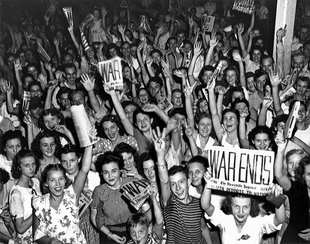 Teenagers celebrating the end of WWII