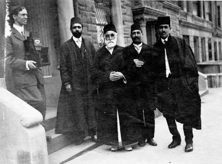 Wendell Dodge (left) and the translators of Abdu'l-Baha (New York 1912)