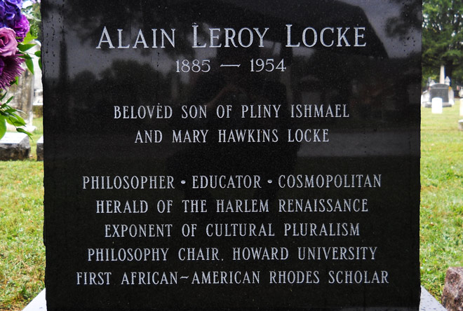 Alain Locke's headstone (front). (Photo by Taraz Buck.) Event: Alain Locke Interment, Congressional Cemetery, Washington DC, September 13, 2014. Hosted by the American Association of Rhodes Scholars. This event was primarily organized by George Keys, Esquire (eighth African American Rhodes Scholar)
