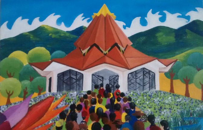A painting of the Baha'i House of Worship for Norte del Cauca by artist Carlos Rosa