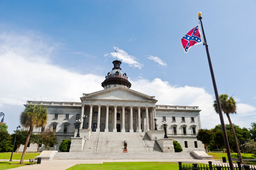 Confederate flag flying over State House in Columbia, SC