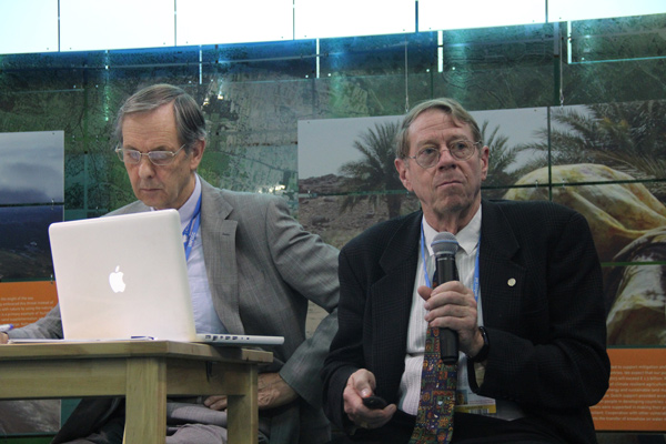Arthur Dahl, president of the IEF and a retired Deputy Assistant Executive Director of the United Nations Environment Programme (UNEP), presents at COP21.
