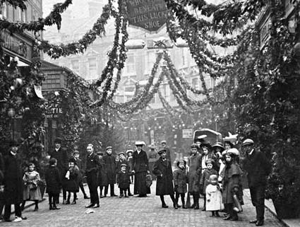 Electric Avenue, Brixton, London 1911 during the Christmas season