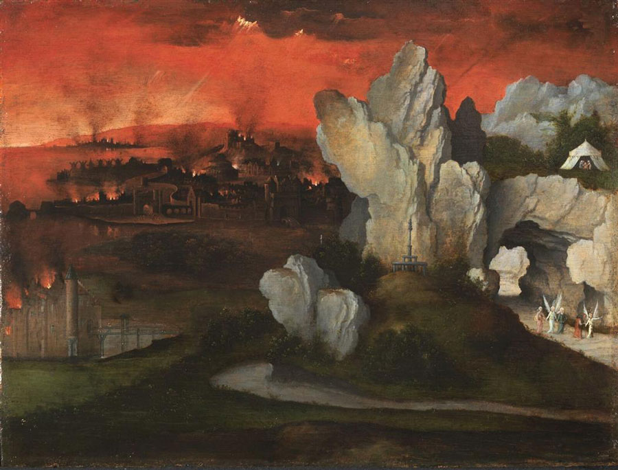 Landscape with the destruction of Sodom and Gomorrah by Joachim Patinir (c. 1520)