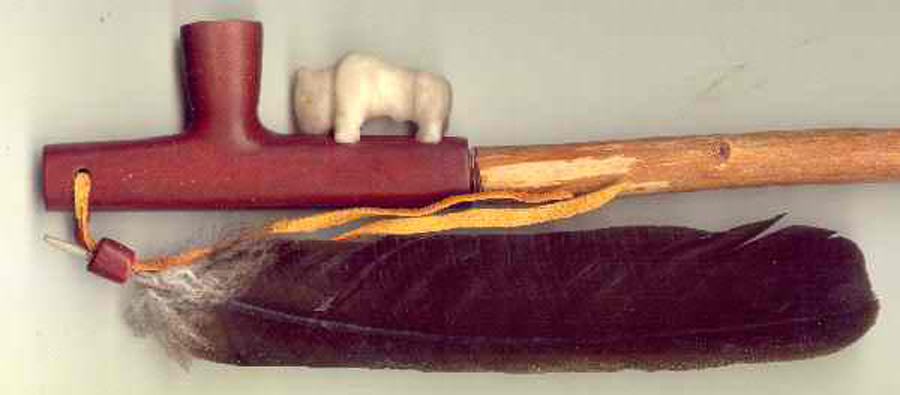 Traditional Lakota pipe decorated with a White Buffalo