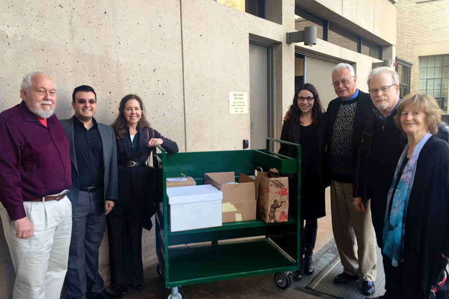 The Daniel C. Jordan archive delivered to Stanford University Library. From L-R: John Eilts, Nicholas Mentha, Shirin Coleman, Sonia Lee, Don Streets, David Langness, Nancy Jordan. Photo credit: Deanne LaRue.