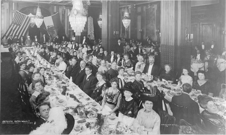 Abdu'l-Baha at banquet in the Great Northern Hotel in New York