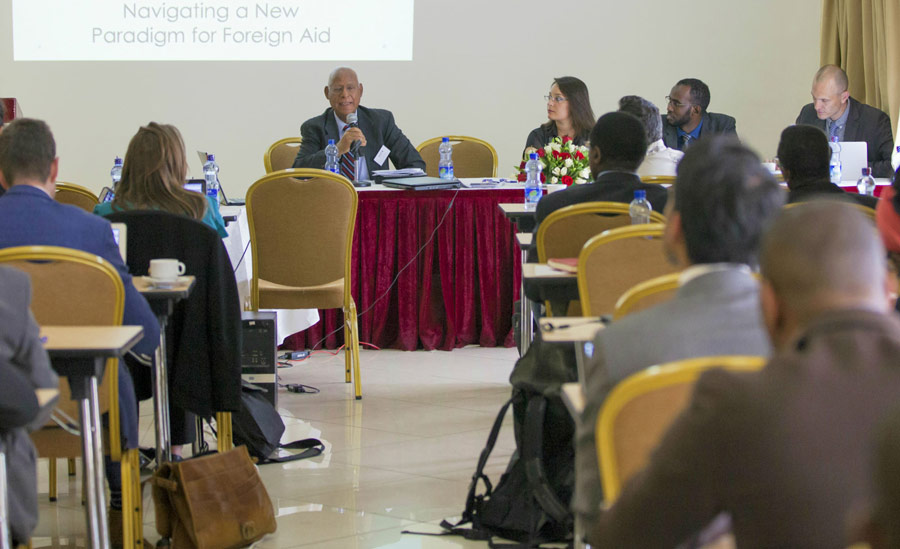 "BIC Representative Prof. Techeste Ahderom chairing a session at a policy dissemination event ""Emerging partners in Africa's post-conflict recovery"", held in Addis Ababa in June 2016."