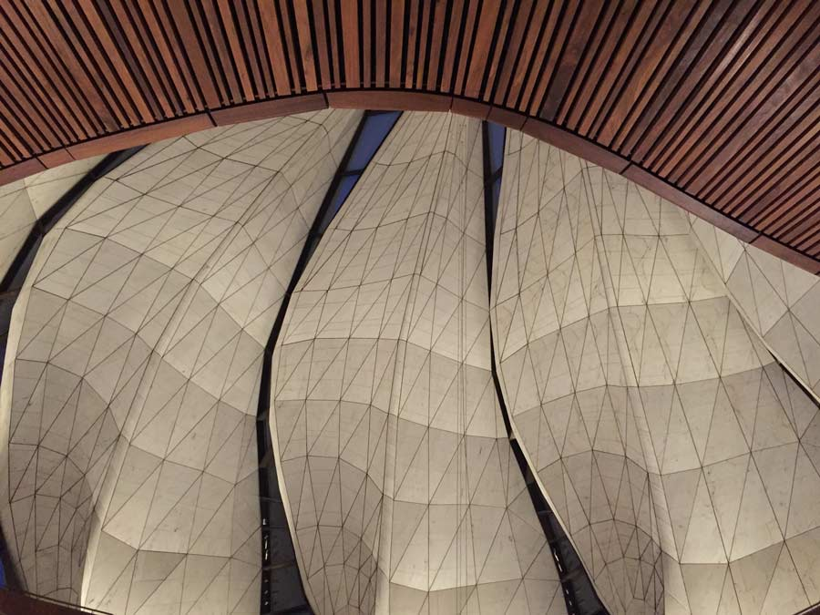 "An interior view of the House of Worship. ""The way that the light is captured in the glass, how it comes through and just touches the marble...it's way beyond what we could have imagined,"" explains the architect, Siamak Hariri."