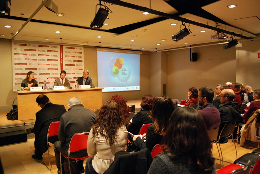 A panel presentation during a conference on religion and governance held in Barcelona, Spain, in March 2015.