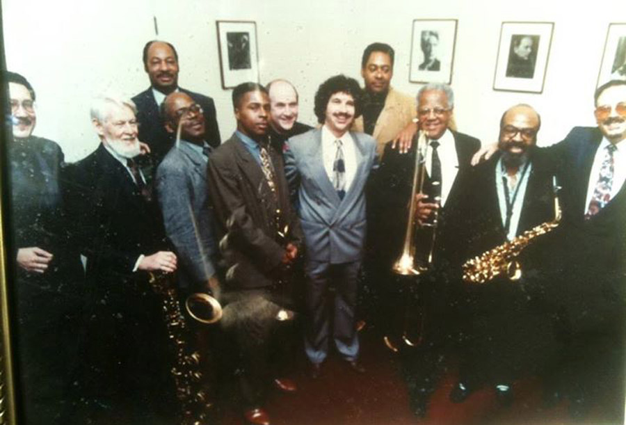 "Dizzy Gillespie and band (Marvin ""Doc"" Holladay can be seen second from the left)"