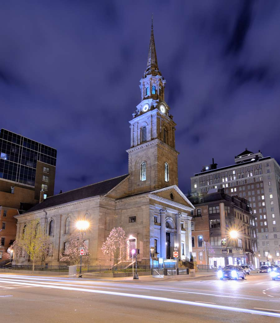 Historic Unitarian Arlington Street Church in Boston, MA