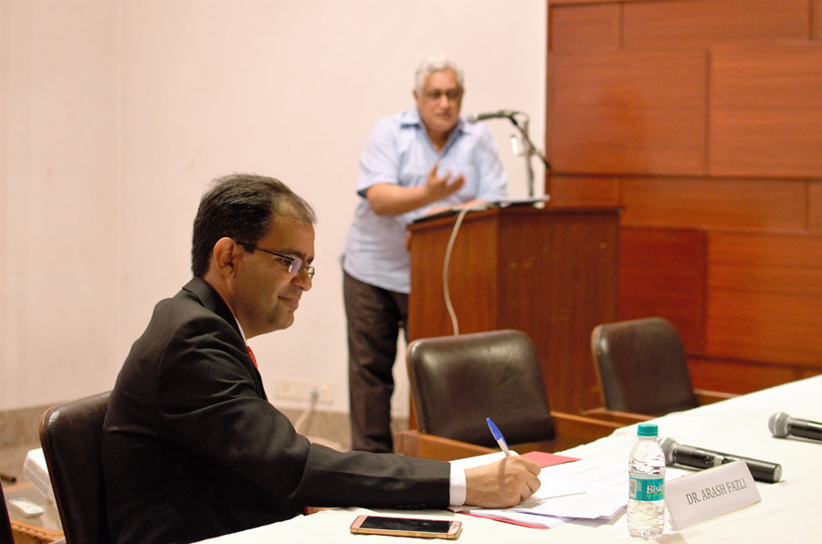Academician Shiv Visvanathan addresses the audience while fellow panelist Arash Fazli from the Institute for Studies in Global Prosperity takes notes.