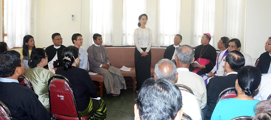 Aung San Suu Kyi gives a speech at an interfaith memorial service on 19 July. (Photo courtesy of Myanmar's Ministry of Information)