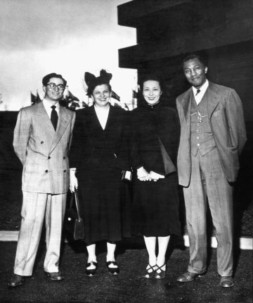 Baha'i delegation to the United Nations International Conference of Non-Governmental Organizations. (L to R) Amin Banani, Mildred Mottahedeh, Hilda Yen and Matthew Bullock; Lake Success, NY, USA (April 1949)
