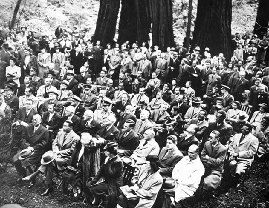 United Nation delegates, representing 46 different nations, attending a memorial service for President Franklin D. Roosevelt in Muir Woods National Monument. (photo circa 1945.)