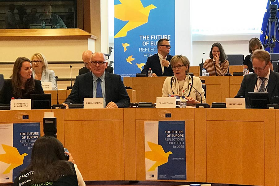 "Vice-President of the European Commission, Frans Timmermans (center left): ""The only way forward for a society as diverse as Europe's is to come to a common understanding of the values we share."""