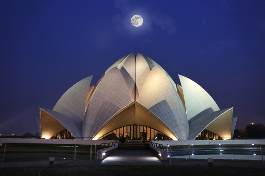 The Baha'i House of Worship for India, also known as the Lotus Temple, in Delhi.