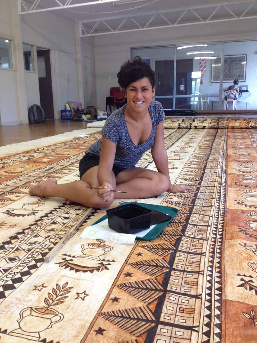 Ruha at work on one of her Ngatu pieces.