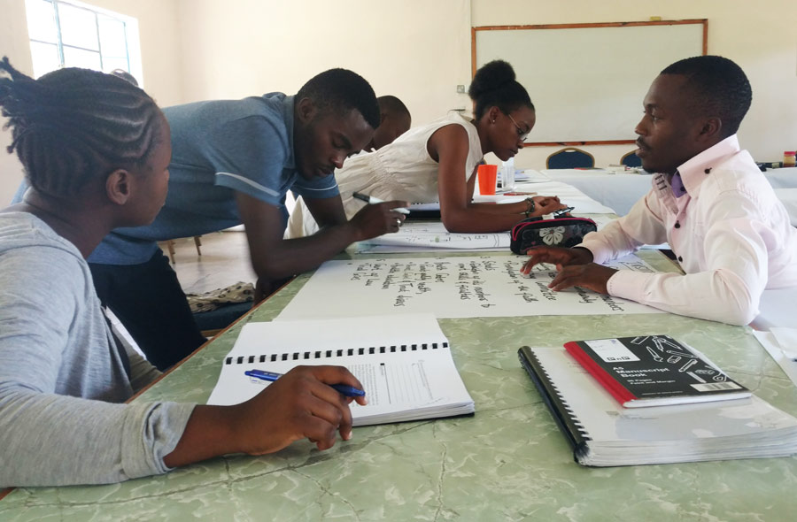 University students in Zambia collaborate on an exercise at the ISGP undergraduate seminar.