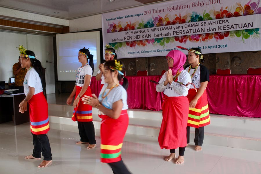 Teachers from schools established by YBTI perform a traditional Mentawai dance during a session of the seminar held in April.