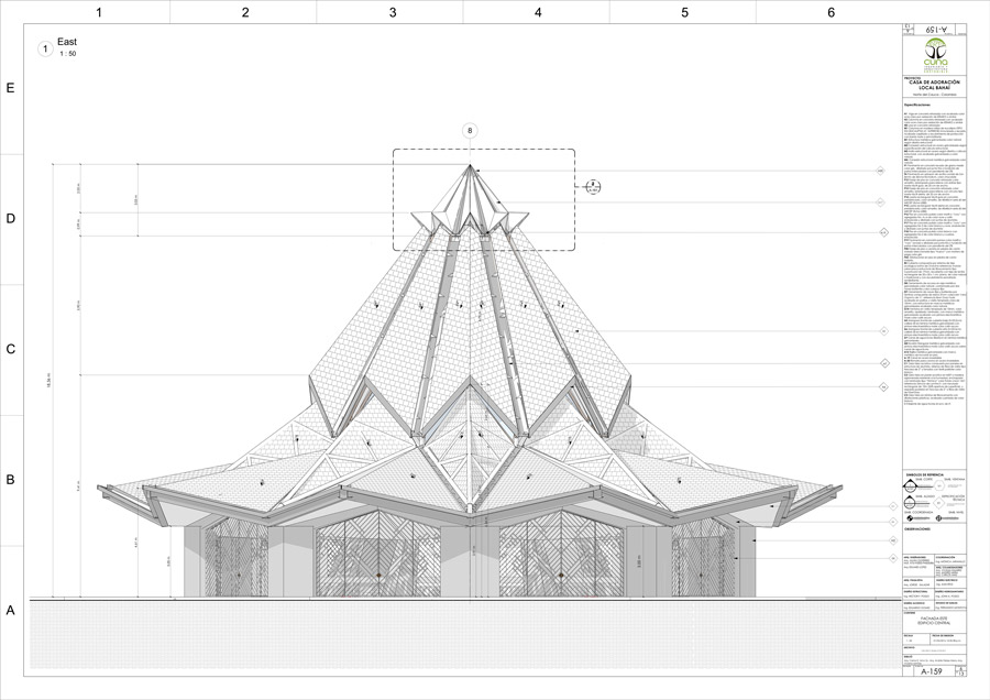 The Temple's outside features are shown in this drawing from the architectural team, including the terracotta-tiled roof and its crowning piece.