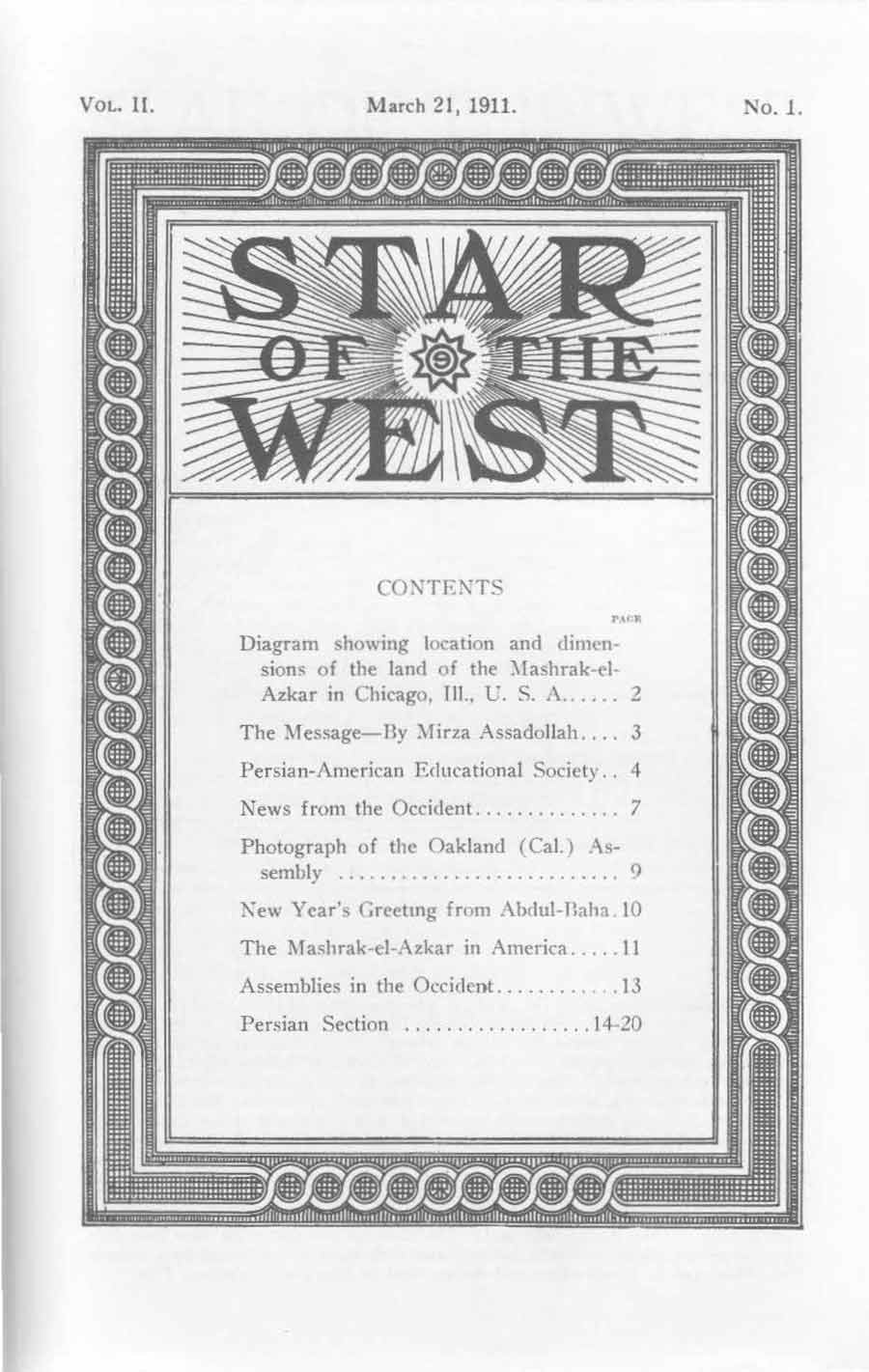 The cover of the second volume of Star of the West.