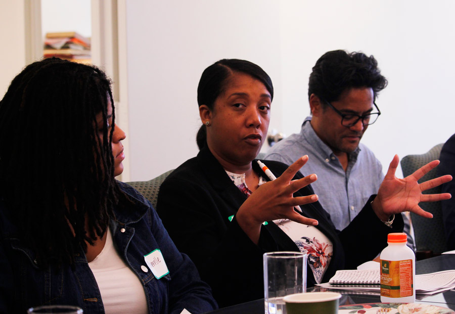 A participant in the Faith and Race Dialogue in September speaks during the gathering.