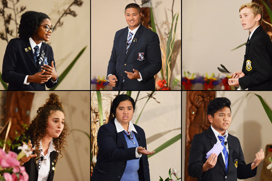 (Clockwise from top left) Takunda Muzondiwa, David Faalau-Solia, Robbie White, Michael Echague, Nina Gelashvili, and Sophie Saweirs were the six finalists who spoke at the Race Unity Speech Awards and Hui on Saturday in Auckland. The annual event is organized by the Baha'is, the national police, and other partners. (Credit: Ben Parkinson)